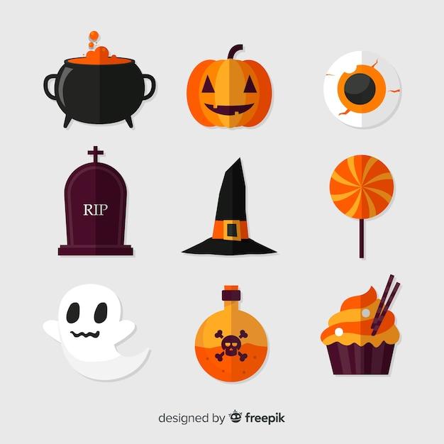 Halloween-elemente auf weißem hintergrund Kostenlosen Vektoren