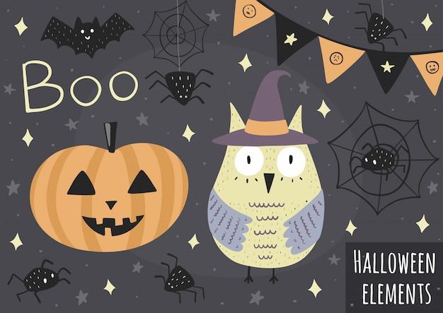 Halloween-elemente - eule im hut, im kürbis, in den spinnen und in anderem Premium Vektoren
