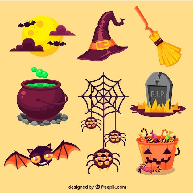 Halloween-elemente gesetzt Kostenlosen Vektoren