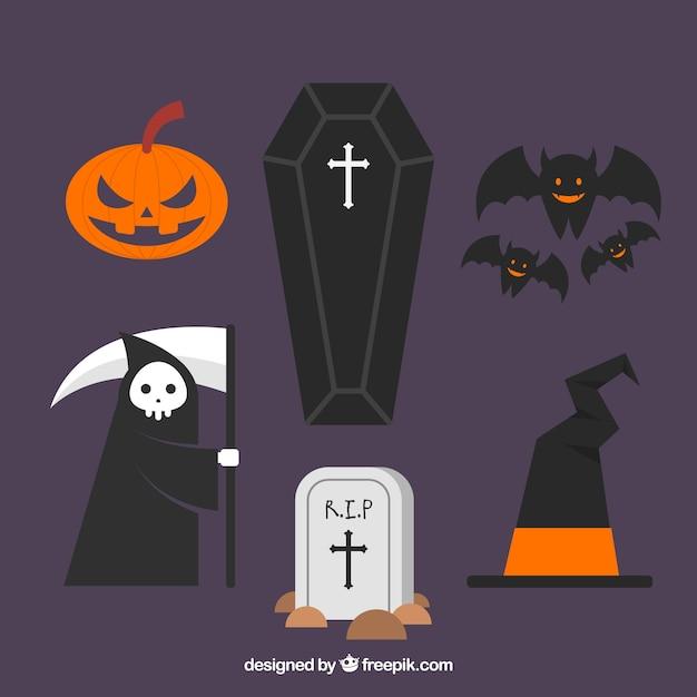 Halloween-elemente mit flachem design Kostenlosen Vektoren