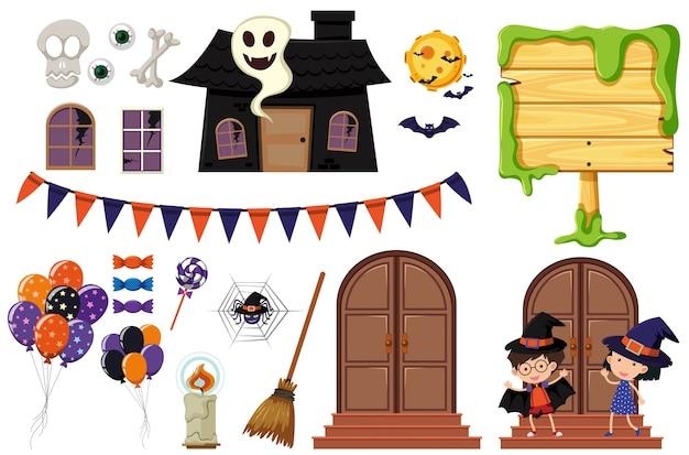 Halloween-Elemente mit Spukhaus und Kinder | Download der Premium Vektor