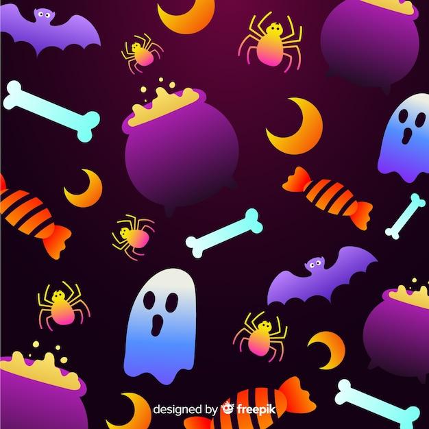 Halloween-elementhintergrund der steigung Kostenlosen Vektoren