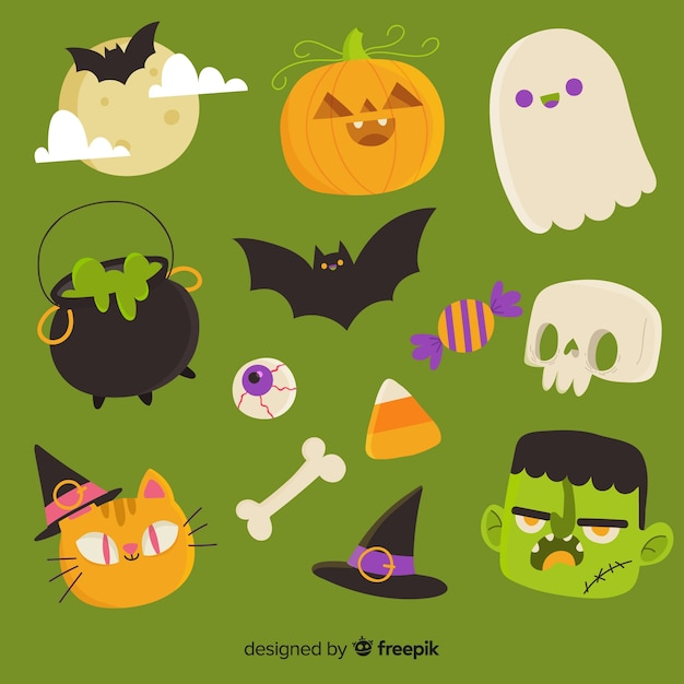 Halloween-elementsammlung im flachen design Kostenlosen Vektoren