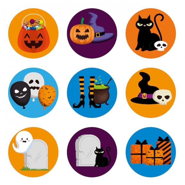 Halloween-elementsatz Kostenlosen Vektoren