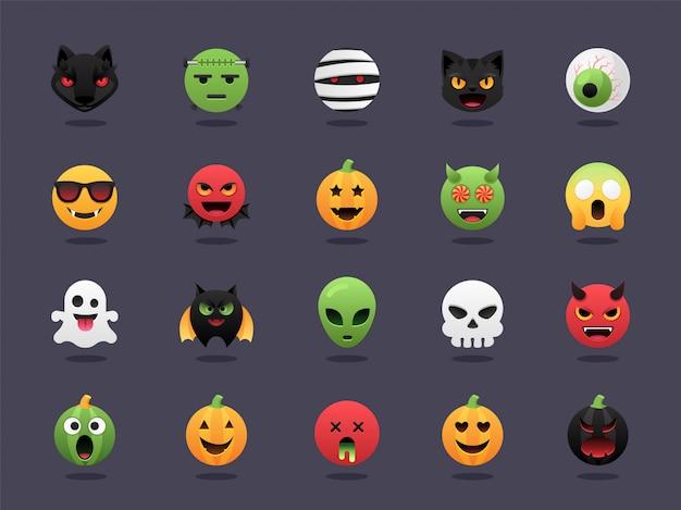 Halloween emoji set Premium Vektoren