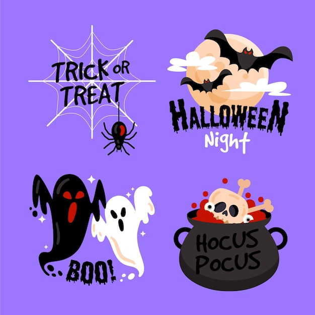 Halloween etikettenkollektion design Premium Vektoren