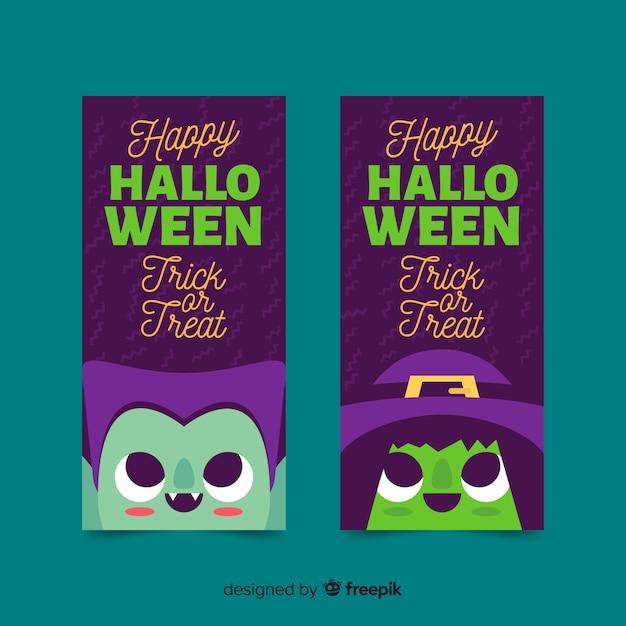 Halloween-fahnen mit vampir und hexe auf flachem design Kostenlosen Vektoren