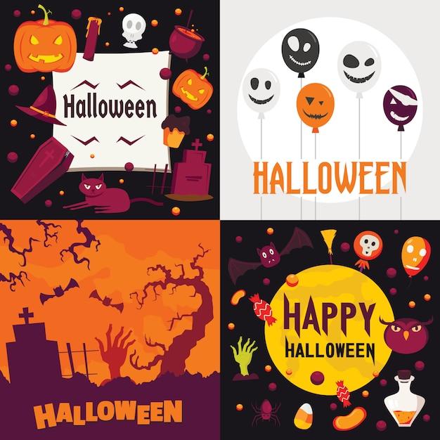 Halloween-fahnensatz. Premium Vektoren