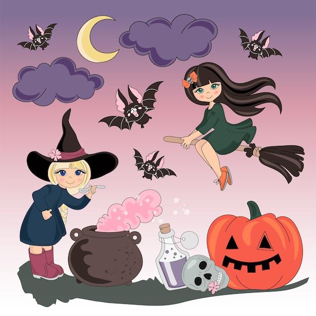 Halloween-farbvektor-illustrations-satz halloween Premium Vektoren