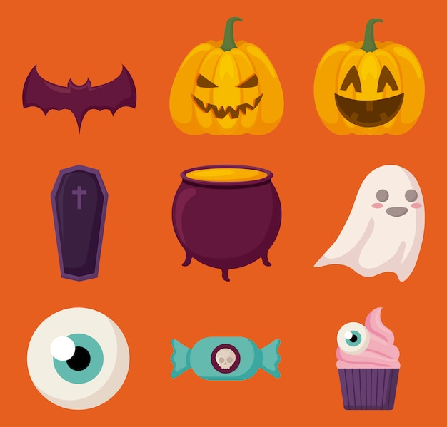 Halloween feier elemente Kostenlosen Vektoren