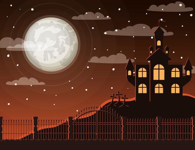 Halloween-feier mit friedhofs- und schlossszene Premium Vektoren