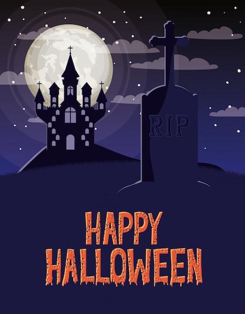 Halloween-feierkarte mit kirchhof- und schlossszene Premium Vektoren