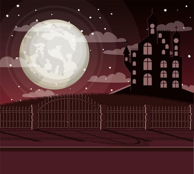 Halloween-feierkarte mit schloss in der dunkelheit Premium Vektoren