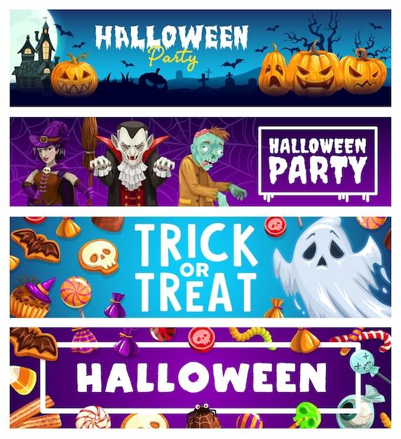 Halloween-feiertags-trick oder behandeln horror-party-banner. gruselige kürbisse, geister, hexen, dracula-vampire und zombies, mond, fledermäuse, spukhaus und friedhof, pralinen, gelees, lutscher Premium Vektoren