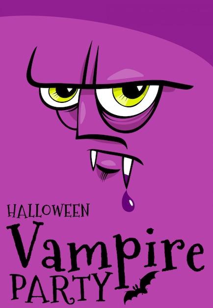 Halloween-feiertagsplakat mit karikaturvampir Premium Vektoren