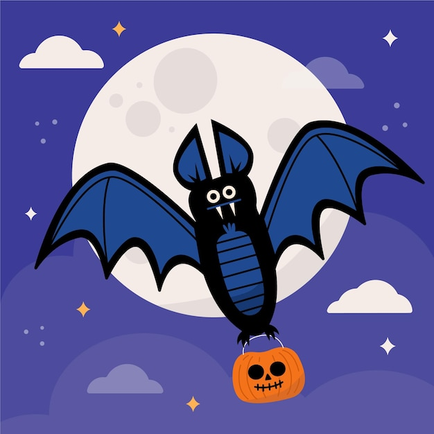 Halloween fledermaus illustration Kostenlosen Vektoren