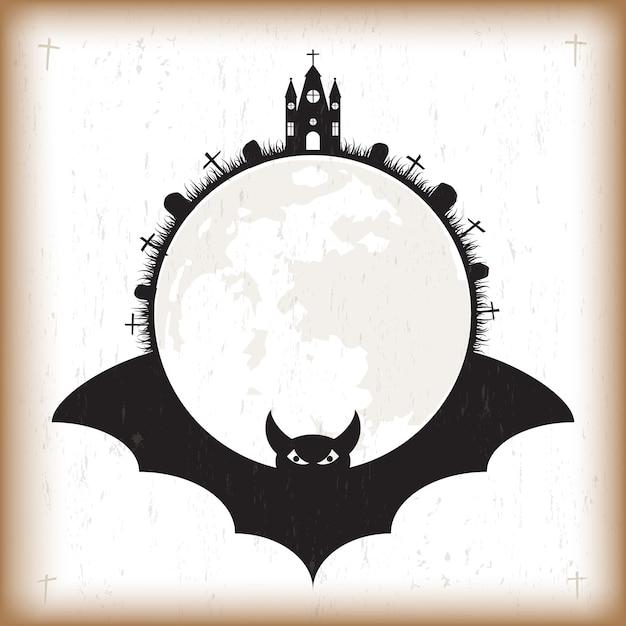 Halloween Fledermaus und Mond Vintage Papier | Download der Premium ...