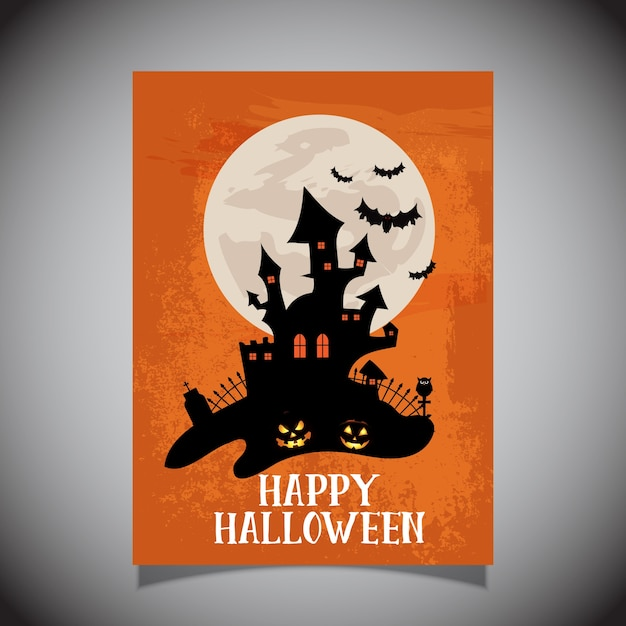 Halloween-flieger mit gruseligem schlossdesign Kostenlosen Vektoren