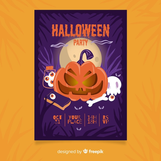 Halloween-fliegerschablone des verärgerten kürbises der vorderansicht Kostenlosen Vektoren