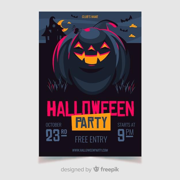 Halloween-fliegerschablone mit glücklichem kürbis Kostenlosen Vektoren