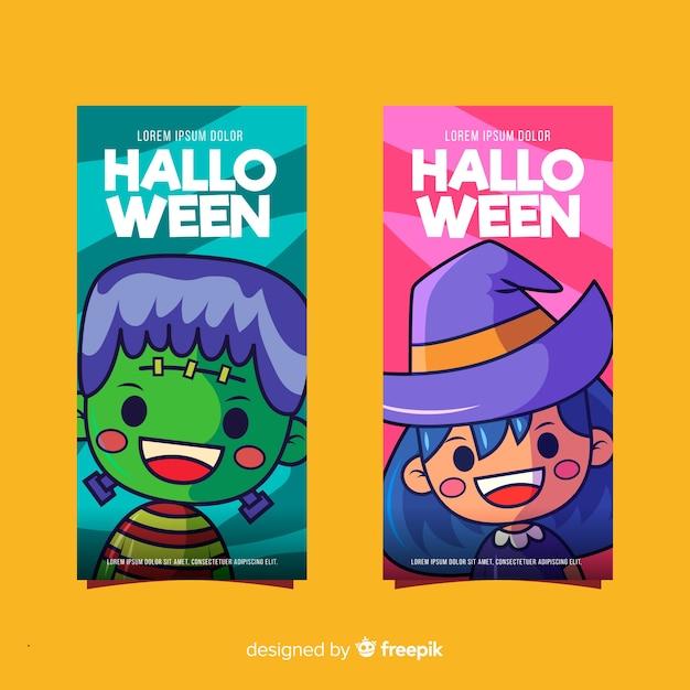 Halloween frankenstein und hexe banner Kostenlosen Vektoren