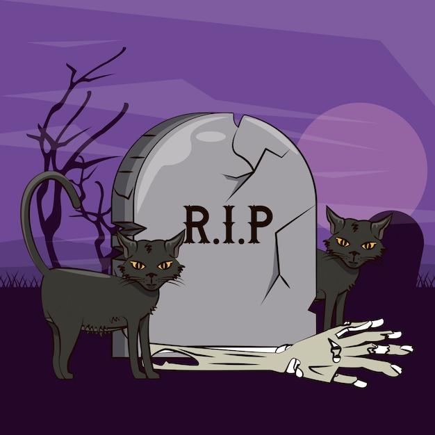 Halloween furchtsame karikaturen Premium Vektoren