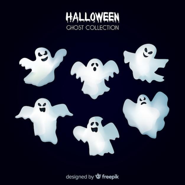 Halloween geist sammlung im flachen design Kostenlosen Vektoren