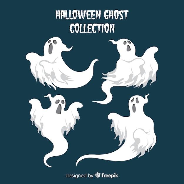 Halloween geister sammlung in verschiedenen posen Kostenlosen Vektoren
