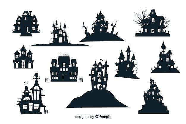 Halloween-geisterhaus-schattenbildsammlung Kostenlosen Vektoren
