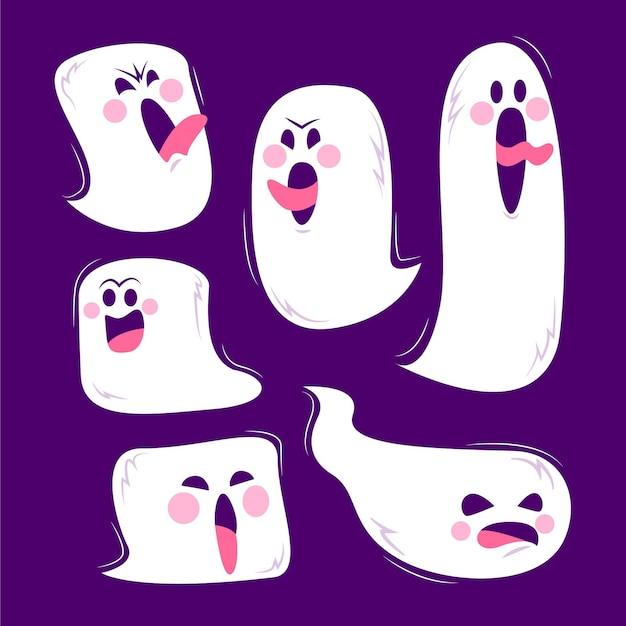 Halloween-geisterkollektion mit flachem design Kostenlosen Vektoren