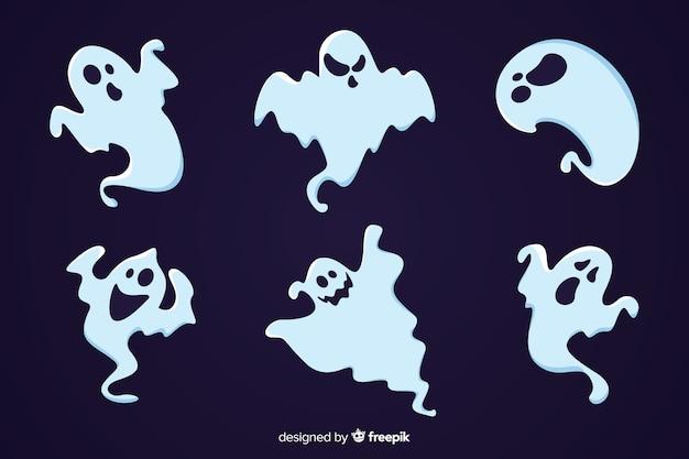 Halloween-geistersammlung der gespenstischen karikatur flache Kostenlosen Vektoren