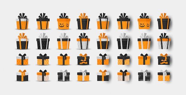 Halloween geschenkbox sammlung Premium Vektoren