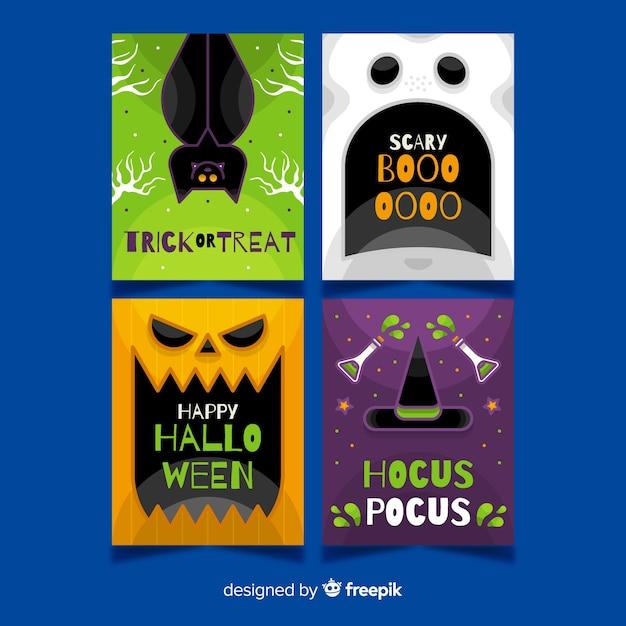 Halloween-geschöpfnahaufnahmekartensammlung Kostenlosen Vektoren