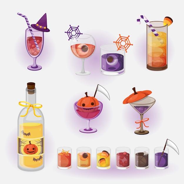 Halloween-getränkekarte. halloween getränkekarte. Premium Vektoren