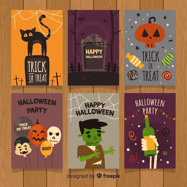 Halloween-grußkarten-sammlung Kostenlosen Vektoren