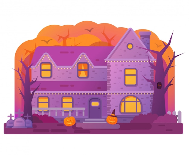 Halloween haus. alter friedhofsgrabstein. fledermäuse und kürbis. horror geschichte. Premium Vektoren