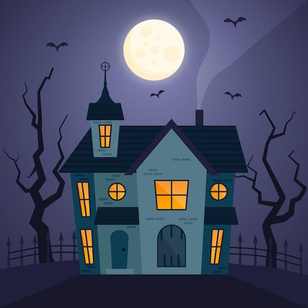 Halloween-haus im flachen design Kostenlosen Vektoren