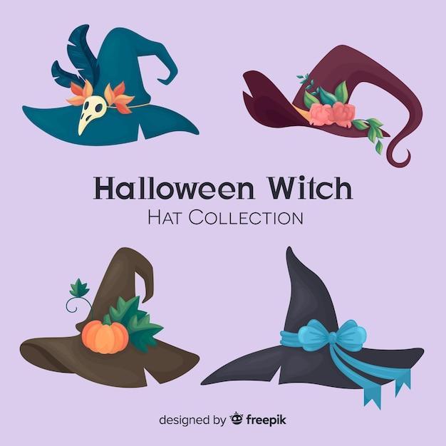 Halloween hexe hut sammlung Kostenlosen Vektoren