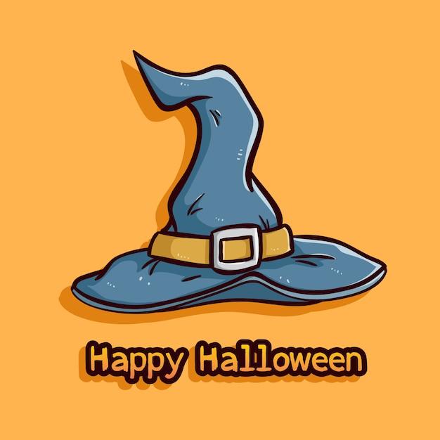 Halloween-hexenhut mit farbiger gekritzelart auf orange hintergrund Premium Vektoren