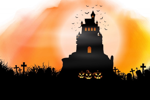 Halloween hintergrund auf aquarell textur Kostenlosen Vektoren