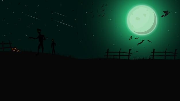 Halloween-hintergrund, grüne nachtlandschaft mit grünem vollmond, zombie, hexen und kürbisen Premium Vektoren