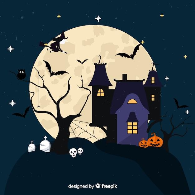 Halloween-hintergrund im flachen design Kostenlosen Vektoren