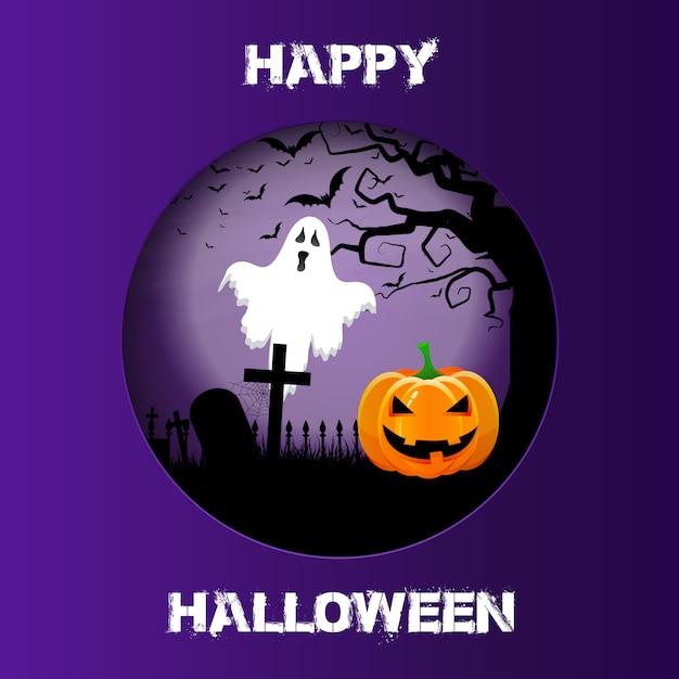 Halloween-hintergrund mit ausschnittdesign Kostenlosen Vektoren
