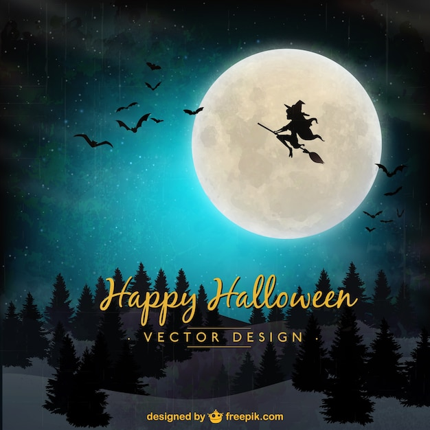Halloween hintergrund mit fliegenden hexe Kostenlosen Vektoren