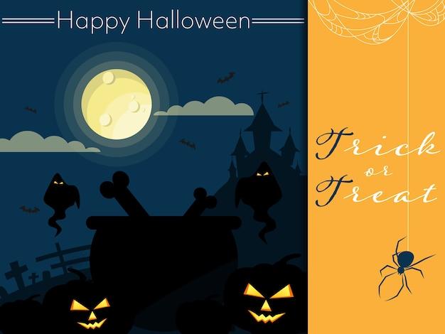 Halloween-hintergrund mit glücklichem halloween-text. Premium Vektoren