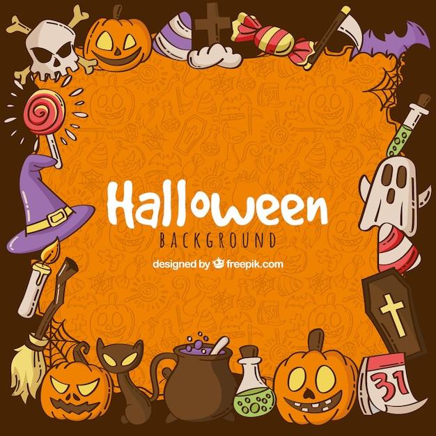 Halloween hintergrund mit hand gezeichneten elemente Kostenlosen Vektoren