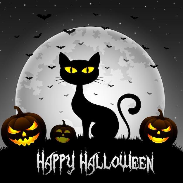 Halloween-hintergrund mit katze und kürbisen Premium Vektoren