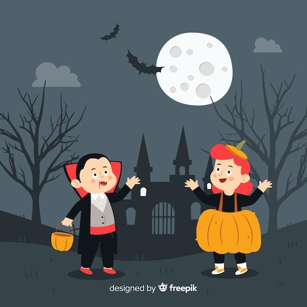 Halloween-hintergrund mit kindern in verkleidung Kostenlosen Vektoren