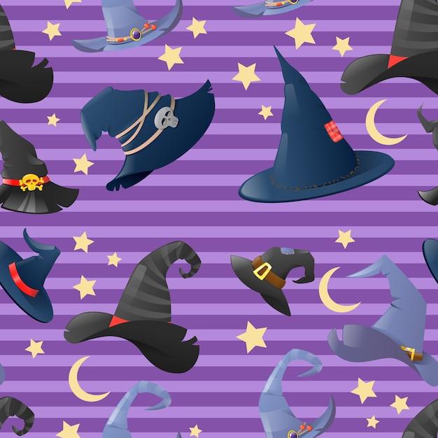 Halloween-hintergrund mit sammlung von karikaturhexenhüten Premium Vektoren