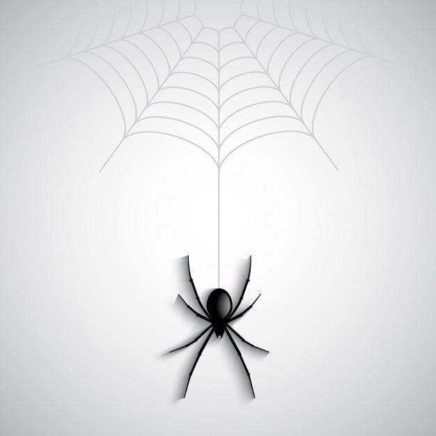 Halloween-hintergrund mit spinnen baumelt von einem spinnennetz Kostenlosen Vektoren